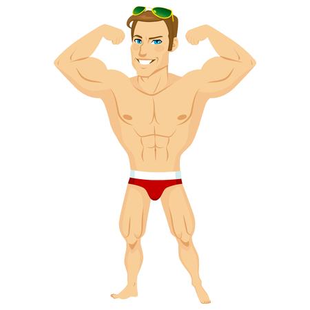 Hombre del músculo con gafas de sol y traje de baño mostrando sus grandes bíceps