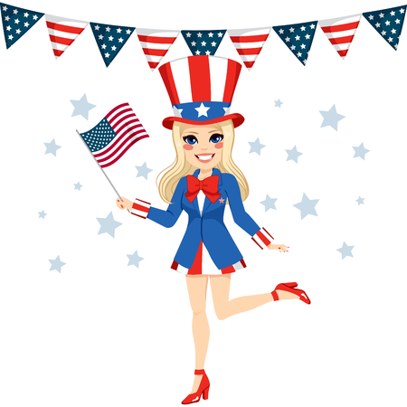 Beautiful blonde woman with Uncle Sam disguise holding flag on hand celebrating 4th of July independence day Vector