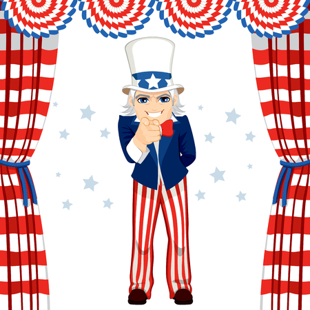4th of July uncle Sam wants you concept pose pointing at you standing under flag decoration Vector