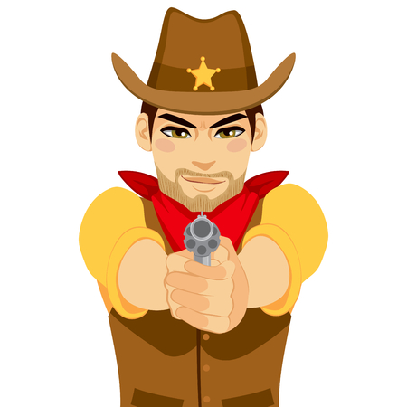 Young cowboy gunslinger shooting revolver with both hands Vector