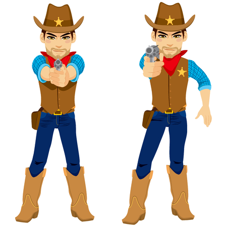 both: Young cowboy on two poses aiming revolver holding gun with both hands and with only right hand