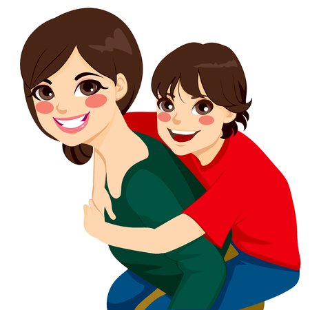 piggyback ride: Beautiful brunette young mom with her son on piggyback ride smiling happy together