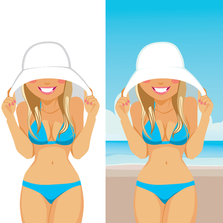 shy: Beautiful young shy blonde woman in bikini hiding her face with big white hat on the beach Illustration