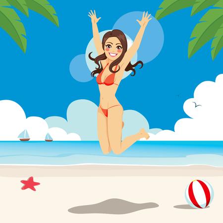 Beautiful brunette woman in bikini jumping happy on the beach