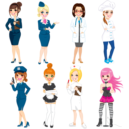 cartoon nurse: Collection set of eight different women professions