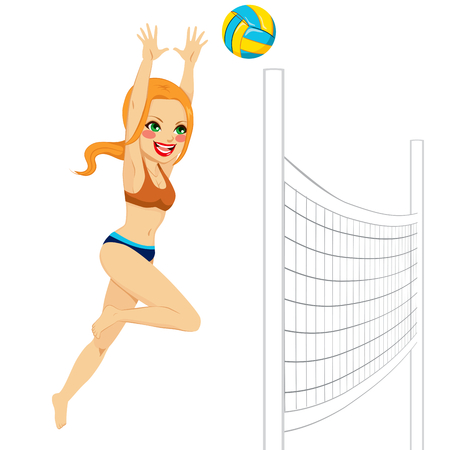 volleyball serve: Hermosa mujer del jugador de voleibol pelirroja saltar para golpear la pelota sobre la red