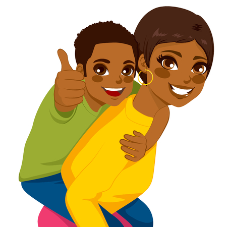her: Beautiful african american brunette young mother with her son on piggyback ride smiling happy together