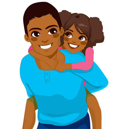 woman back of head: Handsome African American giovane padre con la figlia su Piggyback ride felice sorridente insieme