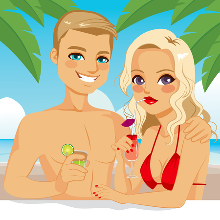 sexy young couple: Attractive blonde couple drinking cocktail and juice relaxing at the beach on vacation Illustration