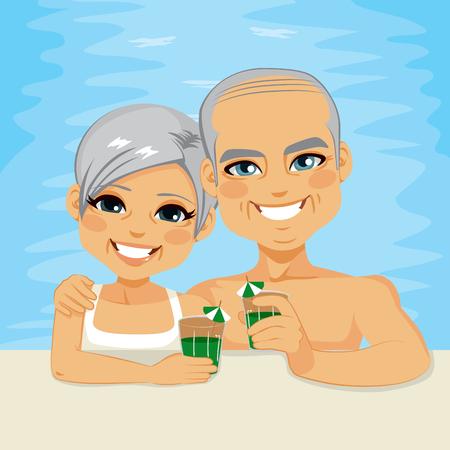 退職の休暇の時間を一緒に楽しんでプールでリラックスできる緑のカクテルを飲んで素敵なシニア カップル