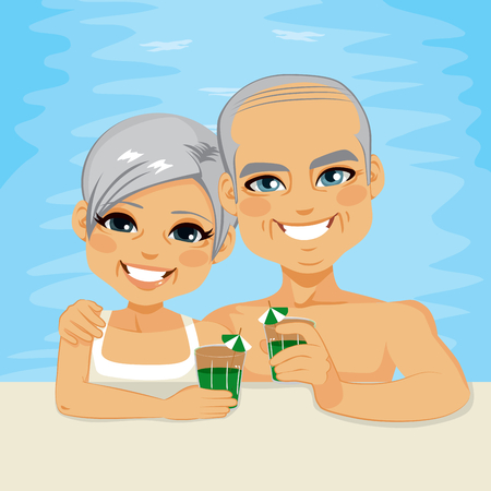 Lovely senior couple drinking green cocktails relaxing on pool enjoying retirement vacation time together