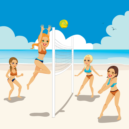 Four beautiful active women playing volleyball on the beach