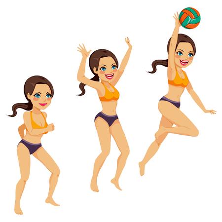 действие: Красивая брюнетка женщина, играть в волейбол делать три позы Smash действий