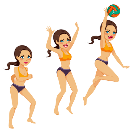 dig up: Beautiful brunette woman playing volleyball doing three smash action poses
