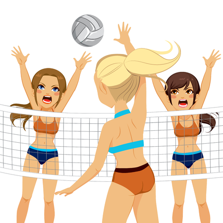 adversaries: Active volleyball player woman jumping while two adversaries try to block smash attack