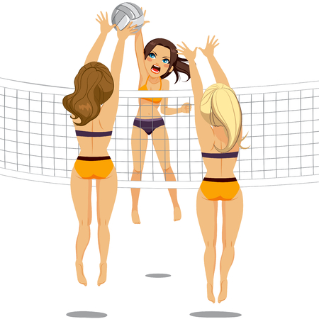 adversaries: Active woman jumping doing smash attack while two athletic volleyball players are blocking ball
