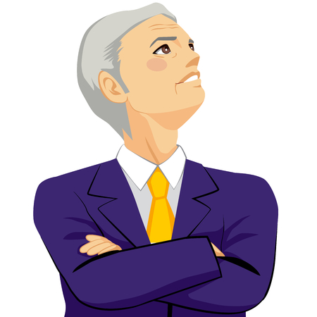 man looking at sky: Senior businessman looking positive up to the sky with arms crossed thinking about the future concept