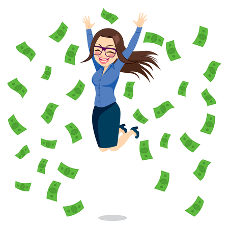 Beautiful brunette happy businesswoman jumping surrounded by green money bills falling