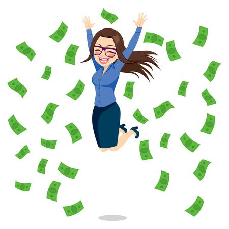 cash money: Hermosa morena empresaria feliz saltando rodeado de cuentas de dinero verdes caen