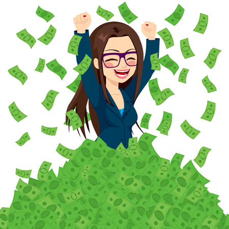 Happy super rich successful businesswoman raising from huge pile of green money bank notes
