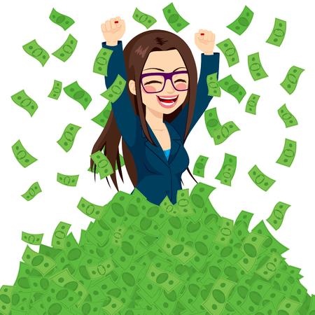 donna ricca: Felice super ricchi imprenditrice di successo alzando dal mucchio di banconote denaro verdi