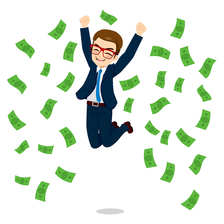 wealthy lifestyle: Young happy businessman jumping surrounded by green dollar money bills falling Illustration