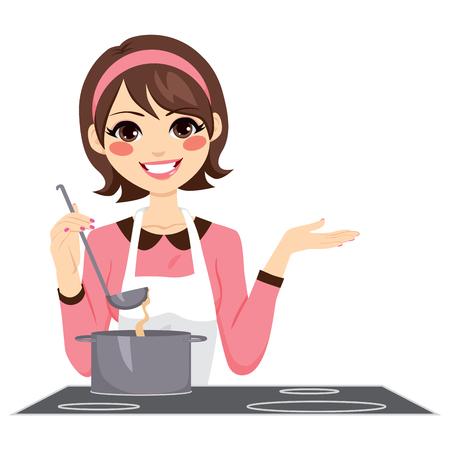 jeune fille: Belle femme brune avec tablier cuisine heureux d�licieux rago�t