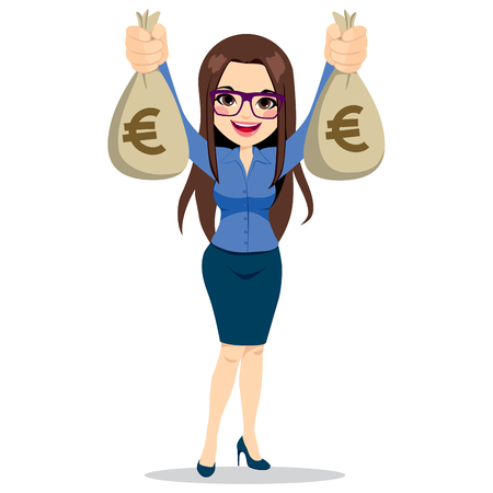 Beautiful businesswoman wearing glasses and suit holding two big euro money bags happy