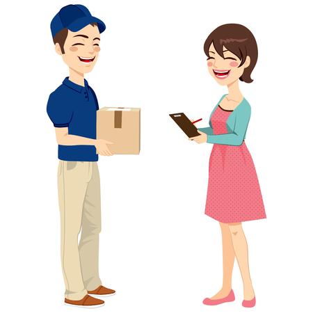 배달 남자 서명 영수증에서 메일 패키지를 수신하는 아름 다운 주부 여자