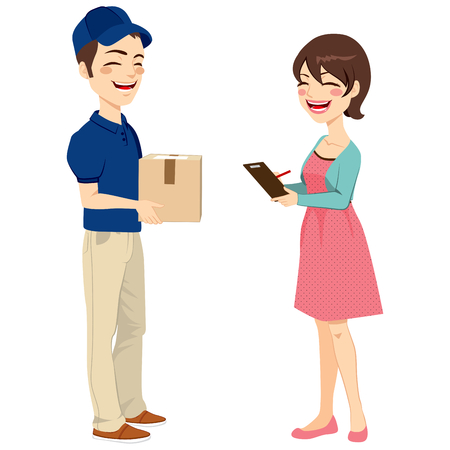 Beautiful housewife woman receiving mail package from delivery man signing receipt Ilustração