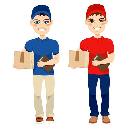 mail man: Entrega hombre llevar paquete de correo y celebraci�n de la cartera en dos versiones diferentes Vectores