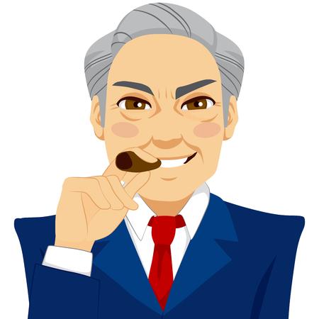 arrogant: Arrogant senior businessman smoking cigar happy smiling