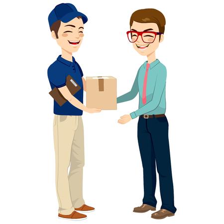 cartero: Hombre de salida joven feliz que da el paquete de correo al empresario