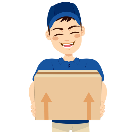 mail delivery: Happy young delivery man holding box delivering mail package