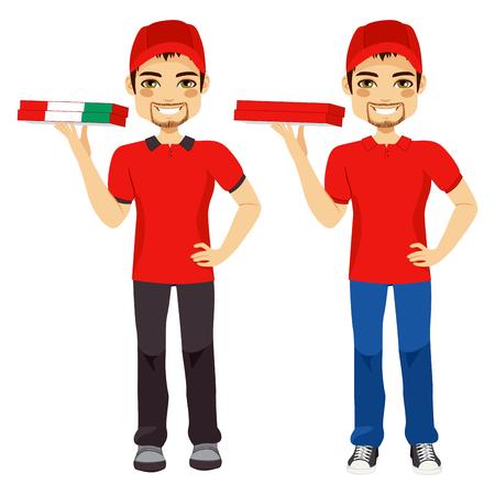 hombre rojo: Repartidor de pizzas de pie la entrega de orden en dos versiones diferentes