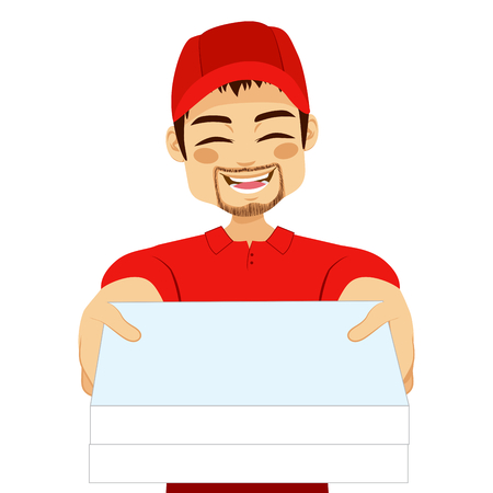 out of order: Happy young pizza delivery guy portrait holding pizza cardboard delivering order