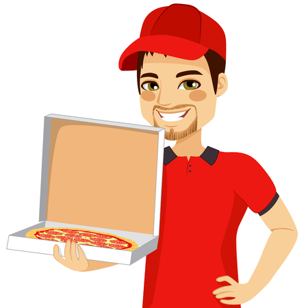 Pizza delivery man holding open cardboard box with pepperoni pizza inside Vector