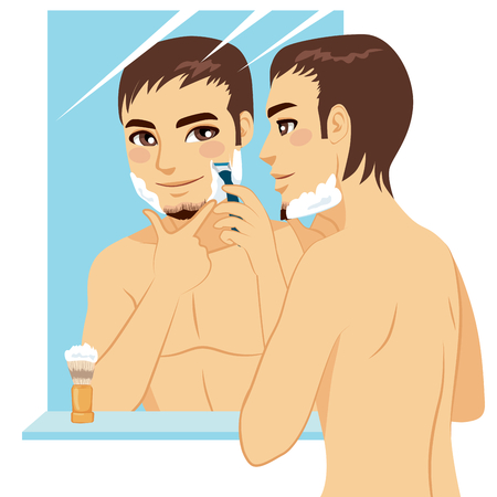 Handsome man shaving his face with razor after applying foam cream in front of mirror Illustration