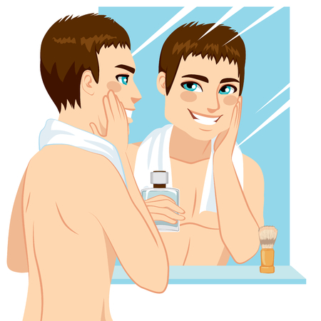 shave: Handsome man applying after shave in his face in front of mirror