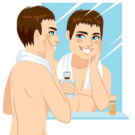 hombre guapo: Hombre guapo aplicar despu�s del afeitado en su rostro frente al espejo