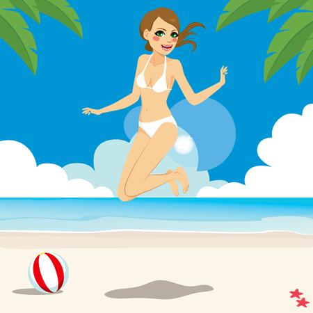 갈색 머리: 열 대 해변에서 행복 점프 비키니에 아름 다운 갈색 머리 여자