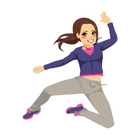 baile hip hop: Hermosa morena baile deportivo muchacha de salto Vectores