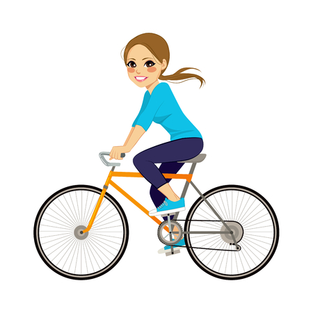 Beautiful young girl riding bicycle happy side profile view Çizim