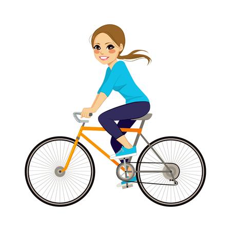 profil: Piękna młoda dziewczyna jedzie rower szczęśliwy boczny profil widoku Ilustracja