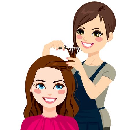 profesionistas: Peluquero profesional cortar flecos con unas tijeras a la hermosa chica morena de pelo rizado