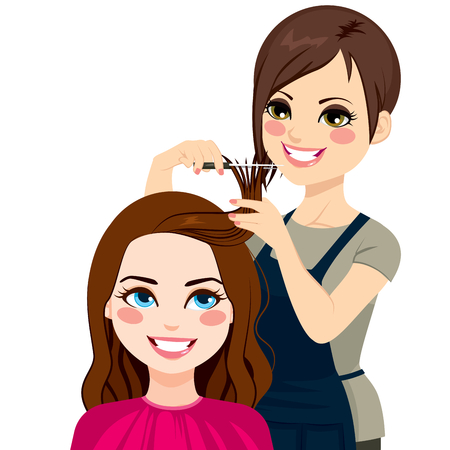 beautiful girl cartoon: Professional hairdresser cutting fringe with scissors to beautiful curly hair brunette girl