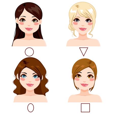 pelo castaño claro: Diferentes mujeres con diferentes tipos de forma de la cara y peinados Vectores