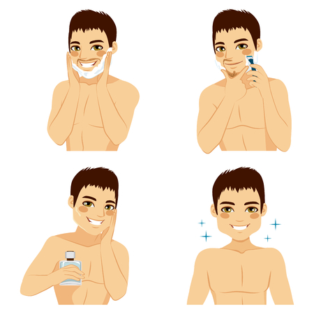 facial care: How to shave man beard steps using shaving foam cream, razor and applying aftershave for smooth skin result