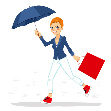 short haired: Beautiful woman in white jeans and blue jacket running with big blue umbrella and red shopping bag Illustration