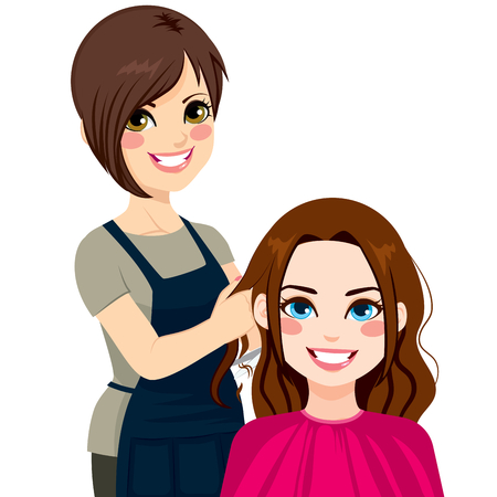Professional hairdresser working cutting long curly hair to beautiful brunette girl Vector